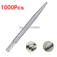 Top Factory Outlet 1000Pcs Manual Microblading Tattoo Gun Machine Handmade Pen Permanent Makeup 3D Embroidery Tattoo Supplies(China)
