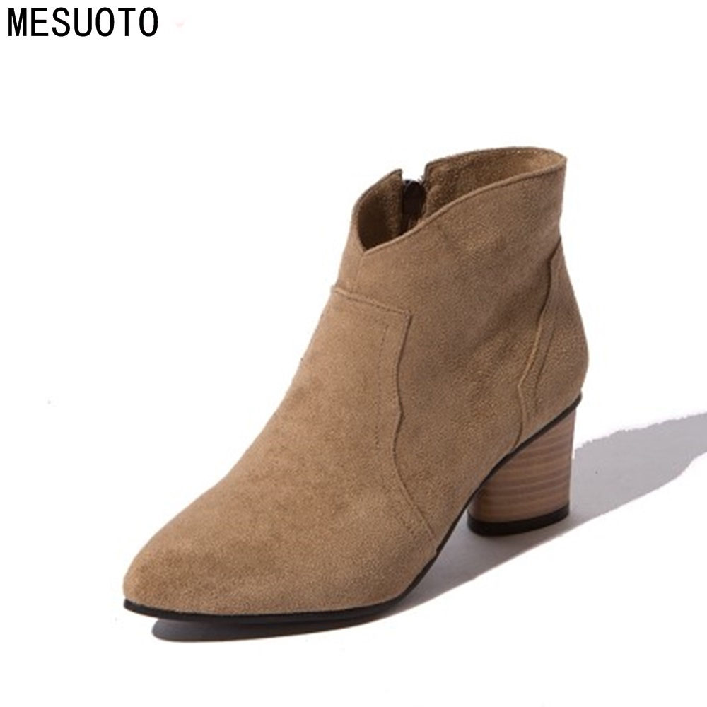 MESUOTO Fashion Lady Handmade Kid Suede Nubuck Zipper Ankle Boot Shoes Spring Air Pointed Toe Mid   Square Heels Women Boots <br>