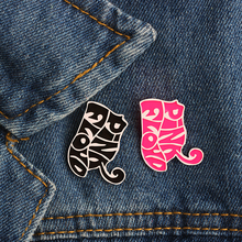 Hot Sale Fashion Creative Cute Pink Black Cat Enamel Pin Brooch Animal Metal Brooches For Women Men Badge Decoration Accessories(China)