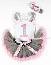 White Baby Pettitop, 1st Pink White Dot Number, Grey Ruffle Pink Bow Grey Pink Newborn Skirt, Grey Band Pink SilkBow MANG1321