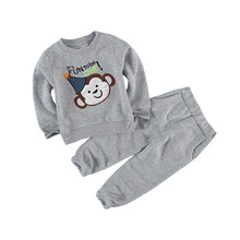 2017 autumn Boy's clothing sets Baby Sets fleece cotton children's tracksuits Kids sport suits Dino/bear coats/sweatshirts+pants(China)
