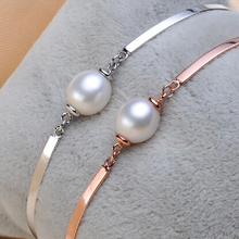 9-10mm Waterdrop Pearl Natural Freshwater Real Pearl Bangles 925 Silver Bangles Rose Gold Color Bracelets Fashion Women Gifts