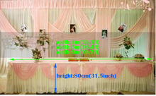 White wedding table skirt with pink table swag banquet party table swag table cover Wedding decoration