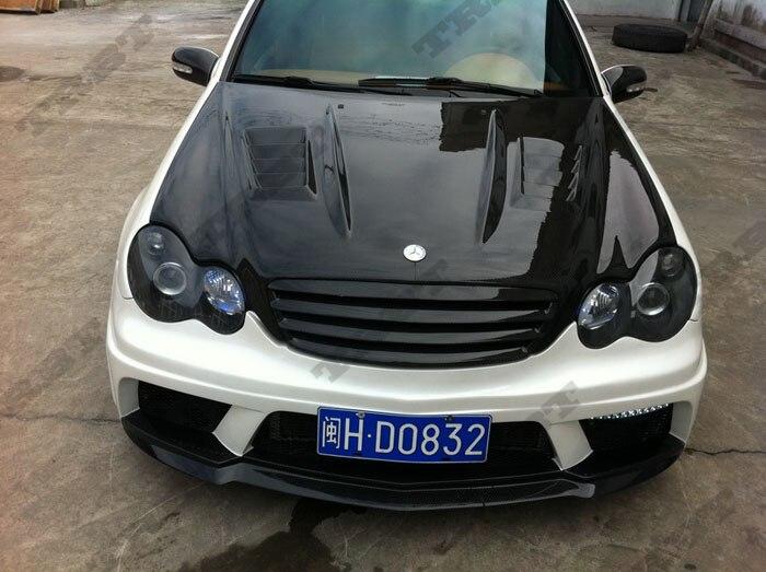 01-07 benz c class wi carbon fiber hood3