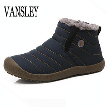2017 New Man Boots Warm Fur Men Snow Boots Shoe Flat Heels Plush Ankle Boots Winter Autumn Couple Unisex Boot Platform Shoes