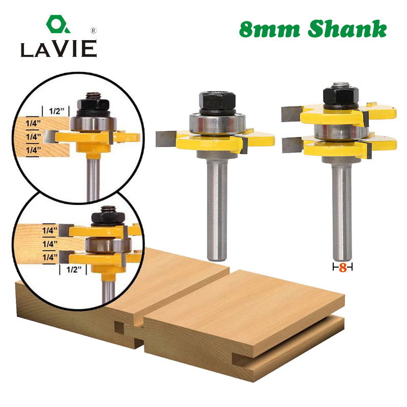 LAVIE 2 pcs 8mm Shank Tongue & Groove Joint Assemble Router Bits T-Slot Milling Cutter for Wood Woodwork Cutting Tools MC02002(China)