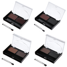 Professional 2 color Combo Waterproof Eyebrow Powder Makeup Palette matte&shimmer Eyeshadow Box With Brush