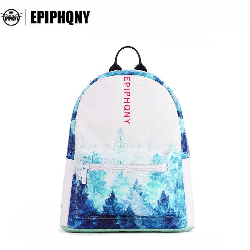 Epiphqny Brand 3D Printing Backpack Dream Forest Women Knapsack Fresh Tree Designer Back to School Gradient Color Landscape<br>