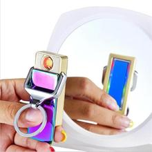 DAROBTL Lighter New fancy light keychains cigarette lighter USB charging Tungsten heat ignition windproof lighter