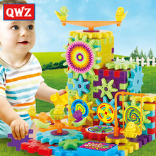 QWZ 81Pcs Plastic Electric Gears 3D Puzzle Building Kits DIY Bricks Educational Toys For Kids Children Christmas Gifts