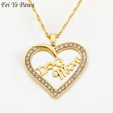 Fei Ye Paws Silver Color Crystal Zircon Dog Mom Heart Pendant Necklaces Dog Mom Long Chain Necklaces Women Gift For Dog Lover(China)
