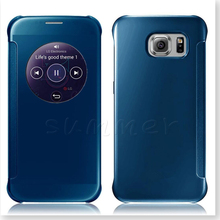 For Galaxy S7 Edge Mirror Case,New Design Clear Flip Smart Stay Round Window Sleep For Galaxy S7 EDGE S7 PLUS S6 Edge iphone 6S(China)