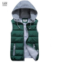 LZJ Women Cotton Wool Collar Hooded Down Vest Removable Hat Female Thicken Winter Warm Black Jacket Outerwear New plus size M1(China)