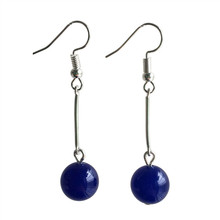Fashion Jewelry Handmade Eardrop Earrings Silver Color Alloy Blue Pink Glass Ball Chalcedony Earring Dangler Women Accessories