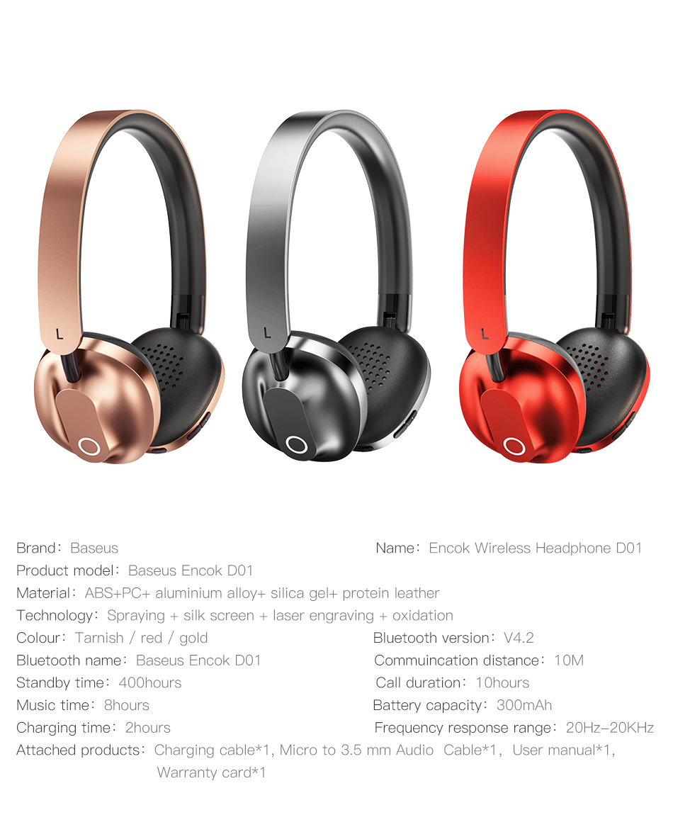 Baseus D01 Wireless Bluetooth Headphone Stereo bluetooth earphone with Mic