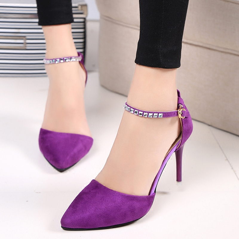 Sweet Purple Fashion Women Pumps Thin Heels Suede Crystal Cutouts High Heels Shoes Stiletto Pink Buckle Strap Shoes D99 35<br><br>Aliexpress