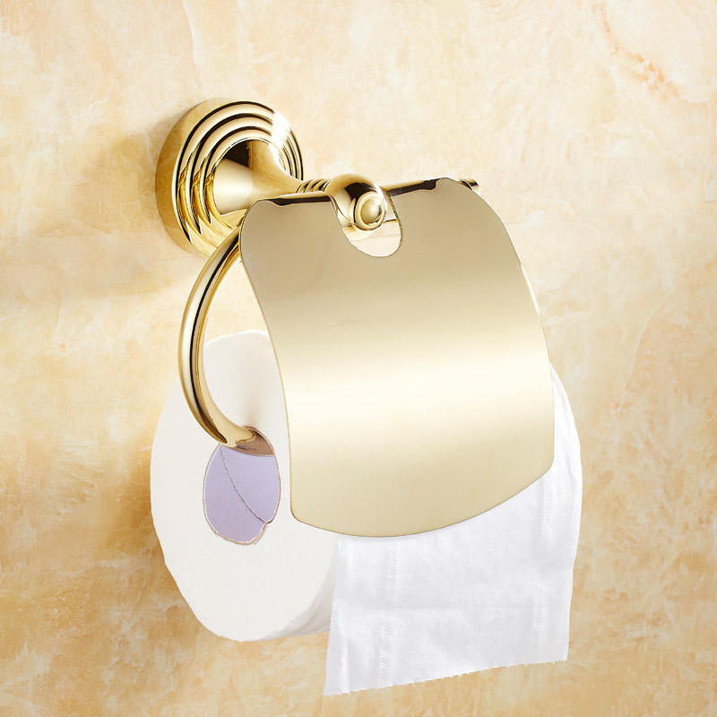 European Copper Gold Toilet Paper Holder Round Base Toilet Paper Roll Holder Bathroom Hardware Hanging Set Wall Mount Accessory<br><br>Aliexpress