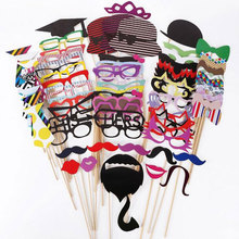Funny Photo Props 76 pcs Wedding Decoration Photo booth Prop On Stick New Party Decoration Christmas Mustache Birthday Party(China)