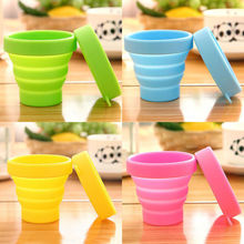 Portable Silicone Retractable Folding Water bottle Outdoor Travel Telescopic Collapsible Soft Drinking C up 8X4.2X7CM