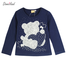 2017 Fashion spring brand domeiland Baby Girl Clothes Bear Long Sleeve Cartoon Rhinestone Cute T-Shirts Cotton Knit T-Shirts(China)