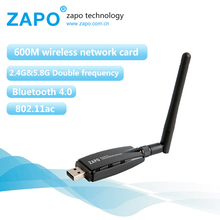 ZAPO 5G WIFI USB 600Mbps Bluetooth 4.0 Adapter Dual Band Wireless 802.11ac Network Card 2dbi Antenna For Windows Linux Android(China)