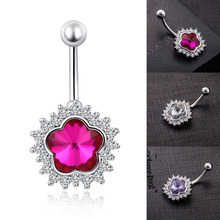 Fashion Flower Belly Button Rings Body Jewelry Navel Piercing Clear Red Purple Crystal Belly Navel Barbell Ring Body piercing(China)
