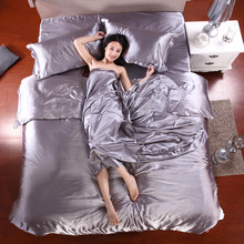 Home Textile Pure Silver Silk Bedding Set Twin Queen King Size Duvet Cover Sets with Bed Sheet Pillowcase 3-4Pcs Bedclothes