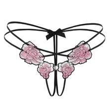 Buy Sexy Women Thongs Hot Open Crotch Panties Lace Underwear Crotchless rose Embroidery G String hot erotic sex Knickers