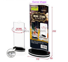 Rotatable acrylic restaurant menu card display stand double-sided Advertising tag sign card Desk card Photo frame holder rack