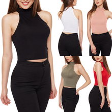 1PC New Women High Quality Summer 14Colors 4Sizes Sleeveless High Neck Sheath Stretchy Tanks Top(China)
