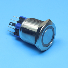 flat round head 25mm Latching LED light Ring Lamp type stainless steel push botton switch(China)