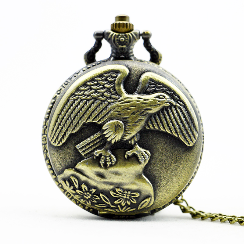 PB386 New Bronze quartz Pocket Watch Eagle Pattern Pendant with Chain Necklace Mens Womens Gifts<br><br>Aliexpress