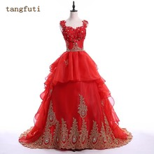 Buy Red Wedding Dresses Gold Appliqus Crystals Sequins Organza Corset Back Bridal Gowns Real Photos Bride Dress for $176.54 in AliExpress store