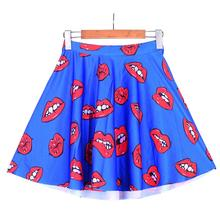 Lovely Red Lips Women Sexy Pleated Skirts Tennis Bowling Bust Shorts Skirts Blue Girls Fitness Sport Apparel A Style Skirst