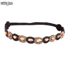 Metting Joura Ethnic Bohemia Braided Headband  With Gold  Balck Resin Stone Wedding Bride Bridal Flower Hair Accessories
