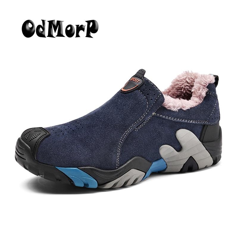 ODMORP Men Winter Shoes Warm Fur Fashion Sneakers Slip On Fur Shoes Men Big Size 38-46 Toe Protected Nonslip Rubber Sole<br>