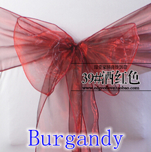 Burgandy colour Chair Sashes crystal Organza sash Wedding Party Decoration Bow sash wholesale snow organza silk sash band(China)