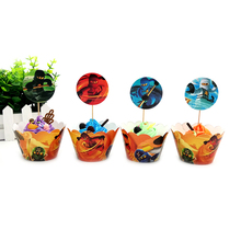 Cake Accessory 24pcs/lot Ninjago 12pcs Wrappers + 12pcs Toppers for Children Kids Birthday Party Cupcake Decoration(China)