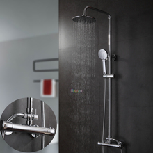 Thermostatic shower faucet.shower set.8 inch round shower head and hand shower.chrome finish bathroom mixer
