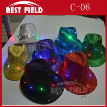 Free Shipping 2pcs Super Bright LED Cap Glow in dark led hat luminous hat fashion light dance toys for party supplies