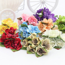 6pcs/lot 3.5cm Silk Flower Rose Flowers Bouquet Wedding Decoration Paper Flower For DIY Scrapbooking Flowers Paper Cheap Flores