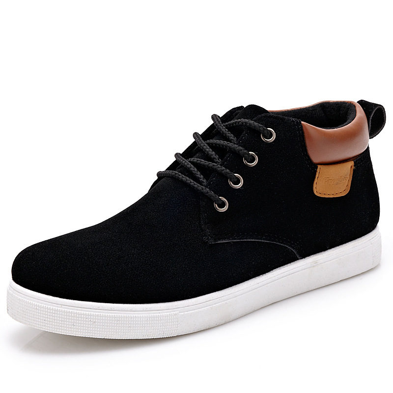 2016 Men Shoes High Top Lace Up Men Casual Shoes Male Men Trainers Comfortable Black<br><br>Aliexpress