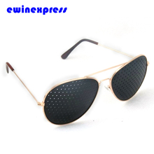2 X Gold Plated New Style Metal Pinhole Glasses Exercise Natural Healing Vision Improve Myopia Hyperopia Presbyopia Cataracts(China)