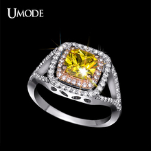 UMODE Luxurious Two Tone Ring Rare Shiny Cushion Cut Yellow CZ Stone Jewelry Halo Engagement Rings Wedding Band UR0143
