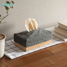 Bamboo and Fabric Tissue Box Holder for Home Office and Car Household Decoration(China)