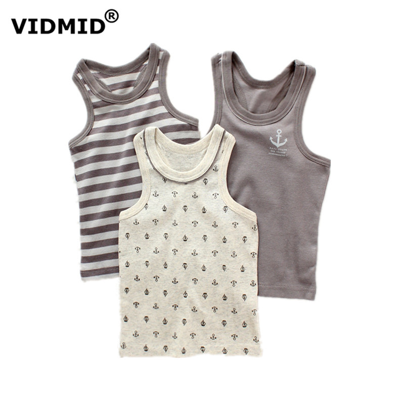 VIDMID new arrival baby boys vests 100% cotton boys sport o-neck sleeveless t-shirts summer casual striped clothing 4003 07