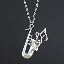 "2017 Fashion Simple Antique Silver Tone 1.0""X1.5"" Saxophone Pendant Necklace Women Men's Jewelry Short Chain Necklace DY83"