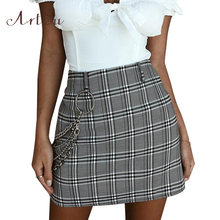 Buy ArtSu Women Girls Plaid Skirt 2018 Summer Beach Saia High Waist A-line Skirts Casual Fashion Mini Skirts Womens Jupe ASSK30053 for $11.38 in AliExpress store