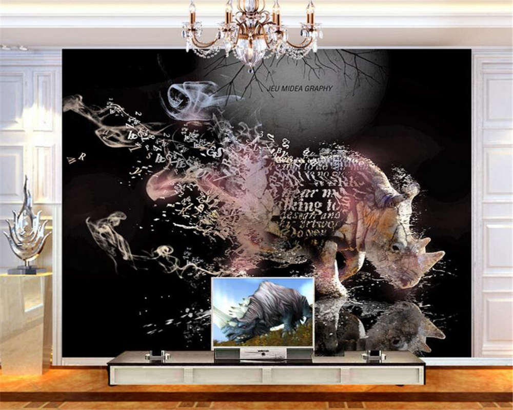 3D Background Wallpaper Abstract Rhino Elements TV Sofa Background Wallpaper Customize any size murals wallpaper for walls 3 d<br><br>Aliexpress