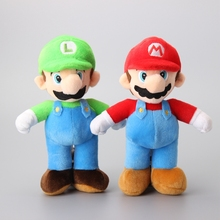 "2 pcs/Lot Super Mario Bros. Mario& Luigi Plush Toys Cartoon Soft Stuffed Dolls Kids Gift 10"" 25 CM"